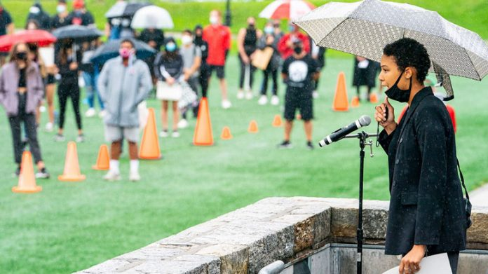 Marist students marched against racial injustice on Wednesday. The event was created by Marist's Black Student-Athlete Alliance (BSAA) and Black Student Union (BSU), and drew approximately 700 participants on a day with intermittent showers.
