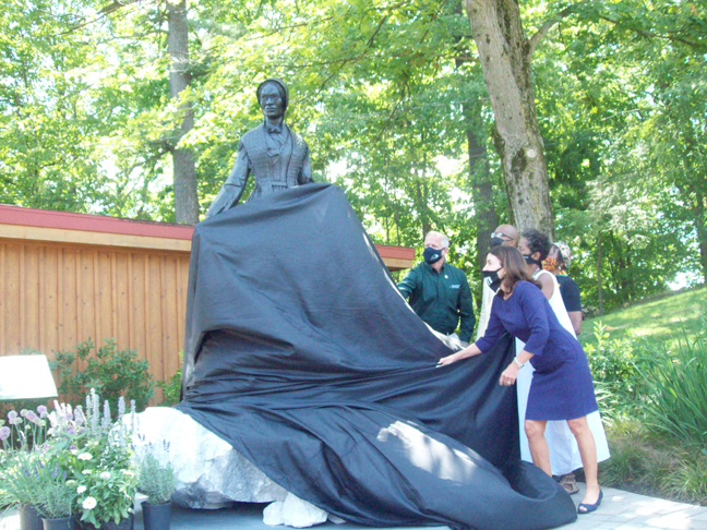 Some of the several dignitaries on hand at last Wednesday's Sojourner Truth event unveil the impressive statue that was made of the iconic suffragette and abolitionist's image by area sculptor, Vinnie Bagwell, and will now be situated at the West End section of the Walkway Over the Hudson in Highland for all to admire.