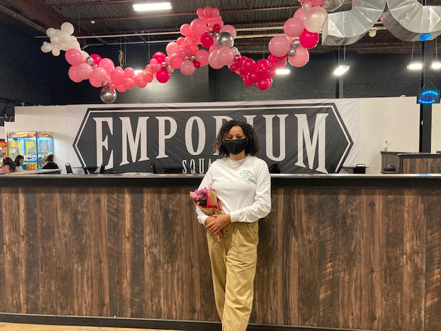 """The Newburgh-based Lancer Project, a party entertainment service with balloon installations, was on hand this past weekend, helping to support the Pink Out 2020 event at Middletown's Artisan Emporium Square Market, located on Dolson Avenue. The company, run by Flor Machuca (pictured) and her fiancee, Jovan Bernard, """"balloon stylists,"""" added some beautiful, festive symbolic pink color to the event, held in honor of Breast Cancer Awareness Month, and will donate percentages of sales by various vendors to the American Cancer Society's Making Strides Against Breast Cancer."""