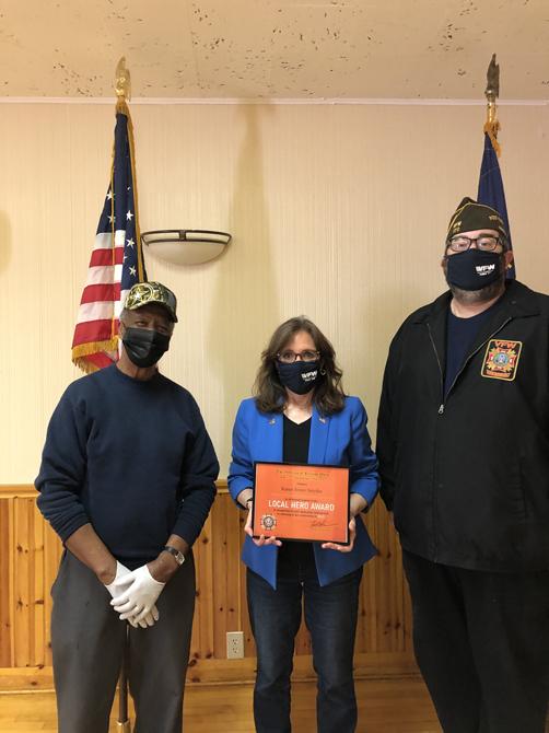 "Democratic State Senate Candidate Karen Smythe receiving her award with Commander Zurhellen and recent ""Veteran of the Year"" awardee Nate Grant."