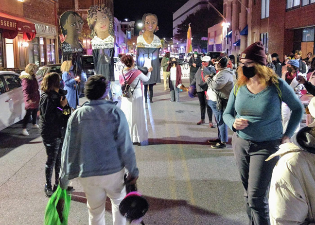 A rally for women was held in Poughkeepsie Saturday night, causing police to stop traffic on several main thoroughfares to prevent marchers from being struck by vehicles.