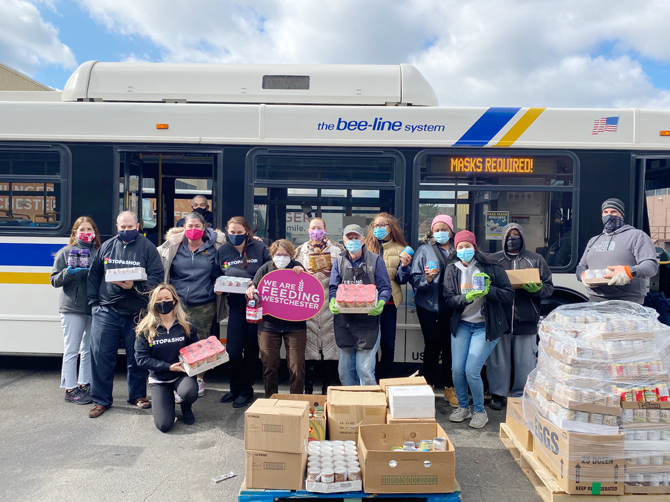 Representatives from Westchester's SMART Commute Program, Feeding Westchester, and Stop & Shop joined together to host a Bee-Line Stuff a Bus food drive.