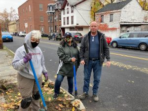 """Genie Abrams, a volunteer with the Newburgh Conservation Advisory Council; Karen Mejia, Councilwoman for Ward 1 in the City of Newburgh; and George Garrison (""""Mr. Make it Happen"""") Superintendent of the Department of Public Works in the City of Newburgh."""