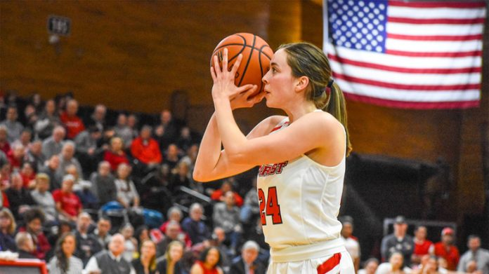Junior guard Sarah Barcello led four Red Foxes in double figures with 15 points off a trio of three-pointers. Photo: Mike Cahill