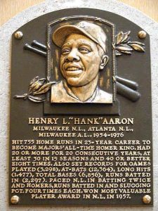 Plaque at Baseball Hall of Fame honoring Hank Aaron.