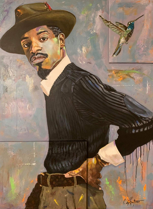 Howland Cultural Center's February art show celebrating National African American History Month. Pictured above work by artist Corey Lightfoot.