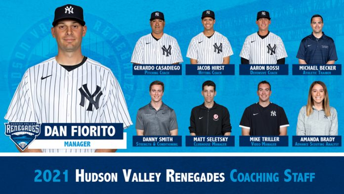 The Hudson Valley Renegades, High Class-A affiliate of the New York Yankees are pleased to announce their 2021 Minor League field staff, as assigned by the Yankees.