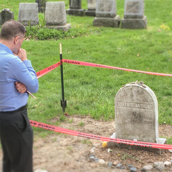 In 2017, Marc Molinaro visited Mt. Hope Cemetery to pay tribute to Susan B. Anthony.