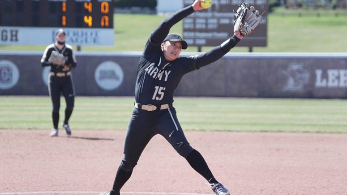 The Army West Point softball team split its doubleheader with Colgate on Saturday.