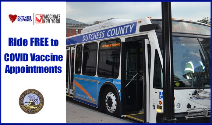 Dutchess County Executive Marc Molinaro has announced that Dutchess County Public Transit is offering free transportation to residents with COVID-19 vaccination appointments at the County's two Fixed Points of Dispensing (PODs), as well as future pop-up sites throughout the county, beginning Saturday, April 10th.