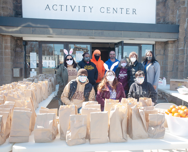 Members of We Are Newburgh prepared hundreds of baags for an Easter giveaway on Saturday, April 3, 2021 at the Newburgh Activity Center. HUDSON VALLEY PRESS/ Chuck Stewart, Jr.