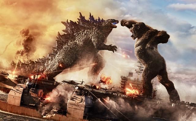 It's a brawl. In this corner weighing several hundred tons with leathery reptile skin, Godzilla. In that corner weighing in at several hundred tons and wearing a fur coat, Kong. Wait for the bell to ring.