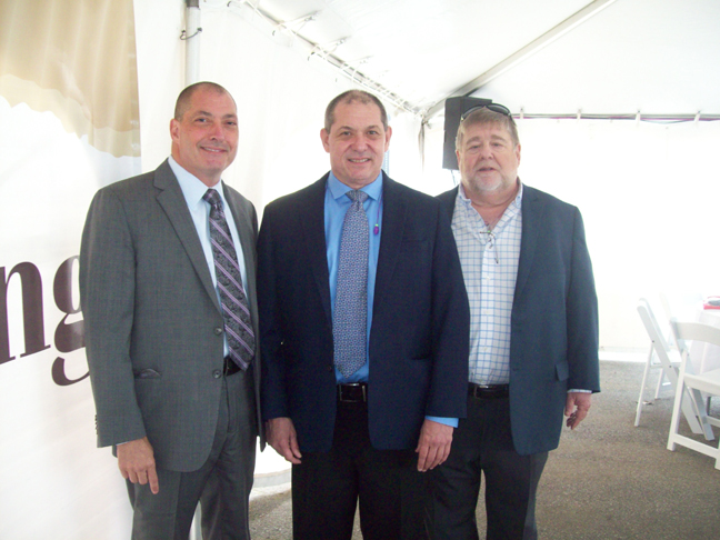On Wednesday, a special groundbreaking ceremony was held for the $40 million expansion of the Wallkill-based President Container Group. From left are Lawrence Grossbard, Co-President; Richard Grossbard, Co-President; and Richard Goldberg, Vice President of Operations.