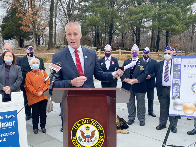 Rep. Sean Patrick Maloney (NY-18) joined dozens of local veteran leaders, Gold Star families, and Purple Heart recipients at the National Purple Heart Hall of Honor in New Windsor to celebrate the official signing into law of the bipartisan and bicameral National Purple Heart Hall of Honor Commemorative Coin Act.