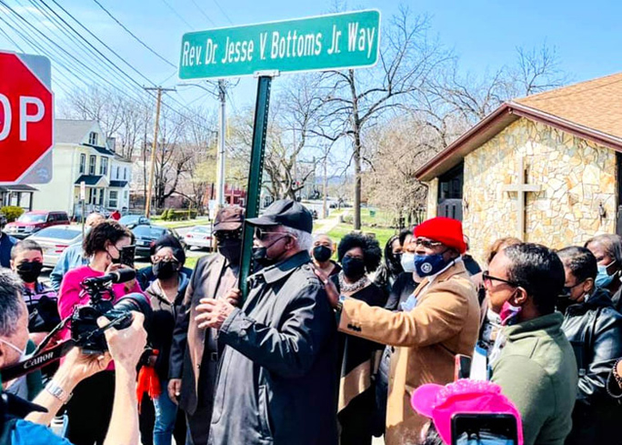 Parishioners, community leaders, and elected officials gathered outside of the Beulah Baptist Church after Sunday mass to honor their pastor, Reverend Dr. Jesse Voyd Bottoms Jr, with a surprise tribute.