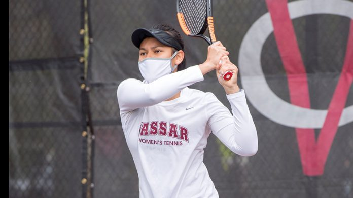 Vassar used a strong singles effort and a pair of doubles wins to defeat Union on the road on Saturday at the Union Tennis Courts. Pictured is Vassar's Sofie Shen.