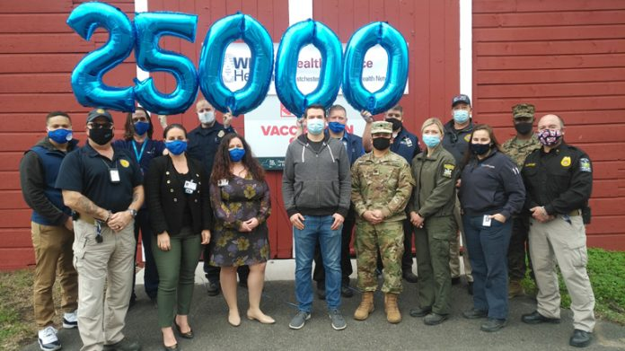 WMCHealth is recognizing the 25,000th person vaccinated at Ulster Fairgrounds.