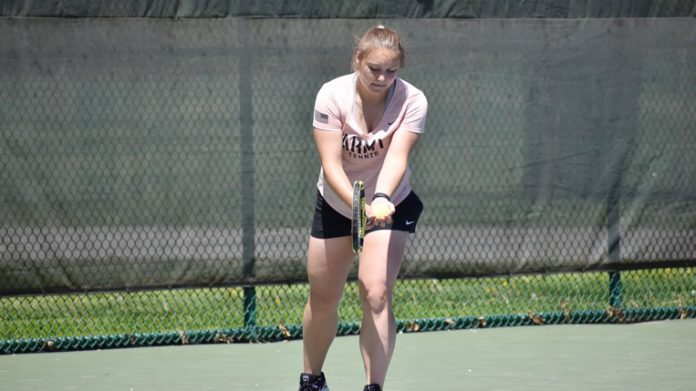 The Army West Point women's tennis team fell in the Patriot League semifinals to Navy, 4-3, on Saturday.