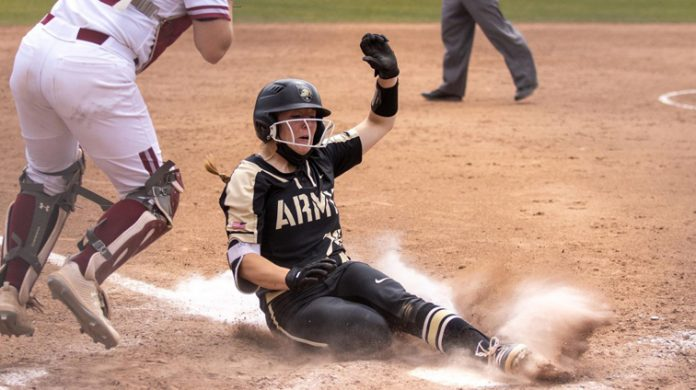 The Army West Point softball team fell 4-3 to Colgate in the elimination round of the Patriot League tournament Friday afternoon.