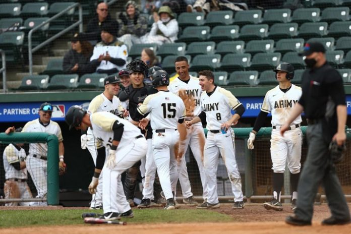Army West Point baseball split Saturday's doubleheader vs. rival Navy at Palisades Credit Union Park.