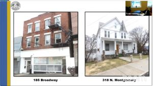 Resolutions for the two properties were approved Monday Night, 185 Broadway (left) and 318 N. Montgomery (right).