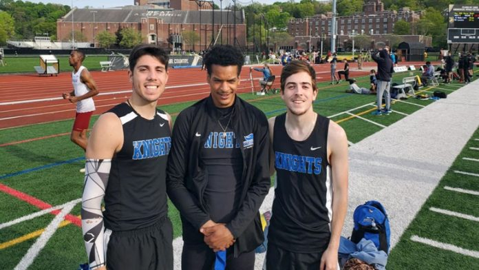 The Mount Saint Mary College Men's Track and Field team was back in action on Thursday evening at the West Point Twilight Meet. Senior Dabein Walker finished the night with a new school record in the Long Jump for the Knights.