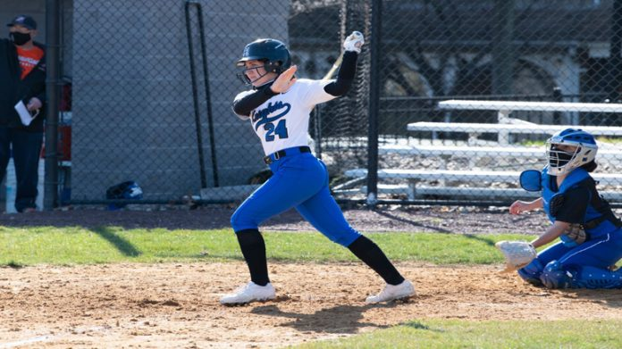 The Mount Saint Mary College Softball team saw its season come to a close on Saturday afternoon following a 12-0 loss to top-seeded Farmingdale State in the Skyline Conference Championship. Pictured above is MSMC Blue Knights Laura Dentato.