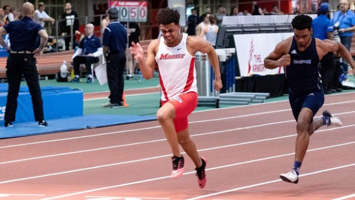 Jeremy Mooney of the Marist men's track & field program broke the school record in the 100-meter dash on Saturday at the IC4A Championships.