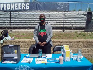Curtiz Simpson. Youth Services Coordinator at Family Services in the City of Poughkeepsie, was one of many vendors, providing critical information to guests about his pivotal, community agency Saturday.