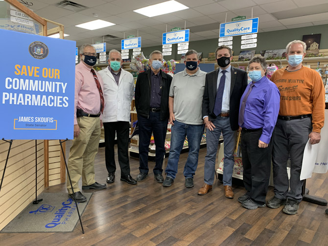 Senator James Skoufis (D-Hudson Valley), Senator Mike Martucci (R, C, I–New Hampton), the Pharmacists Society of the State of New York, and local pharmacists rallied at NeighborhoodRx Pharmacy in Slate Hill on May 6th.