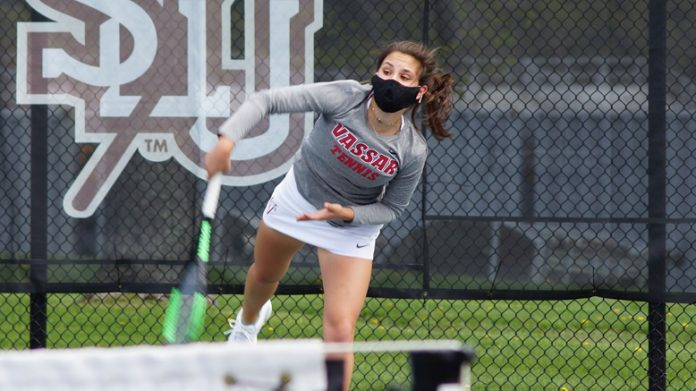 Junior captain Melina Stavropoulos combined for an 8-2 win over SLU's Lillian Sullivan and Caroline Reilly in first doubles.