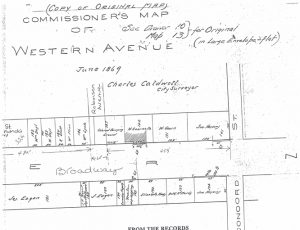 """The June 1869 commissioner's map of Western Avenue, now known as Broadway, completed by city surveyor Charles Caldwell details the property owners, as well as the """"Colored Burial Ground."""" Drawn in by hand is Robinson Avenue or Route 9W, right through the """"colored burial ground."""" The rest of what was once the burial plots are on the grounds of the Broadway School turned City of Newburgh Courthouse."""