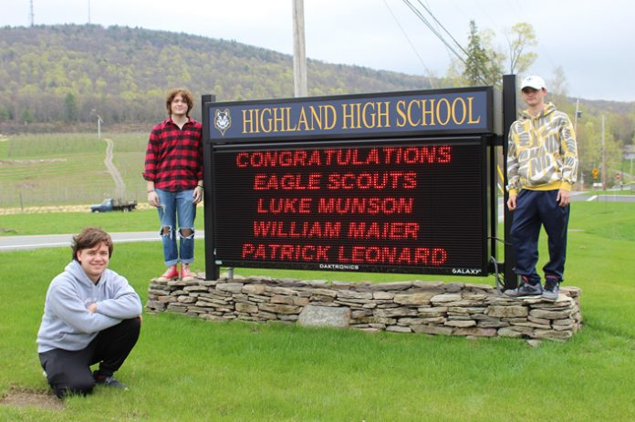Highland High School Seniors Luke Munson (Left), Will Maier (Middle), and Patrick Leonard (Right) recently earned the rank of Eagle Scout by completing community projects and demonstrating leadership skills.