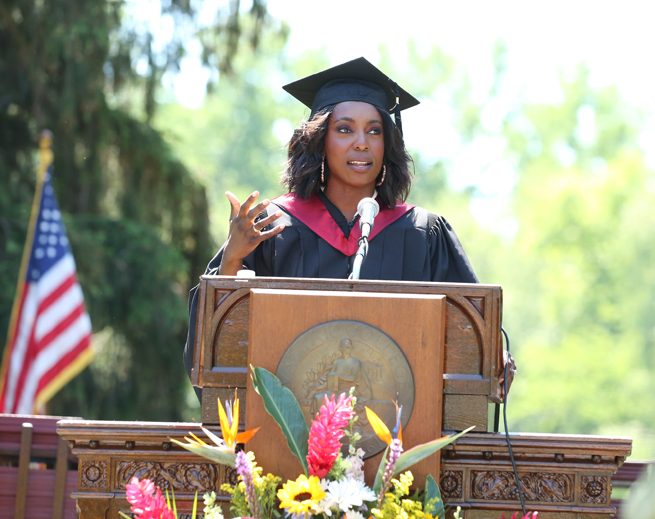 Jessica O. Matthews, the founder and CEO of Uncharted Power, a sustainable infrastructure company speaking at the Vassar College, Class of 2021, 157th Commencement Ceremony, June 6, 2021. Photo: John Abbott