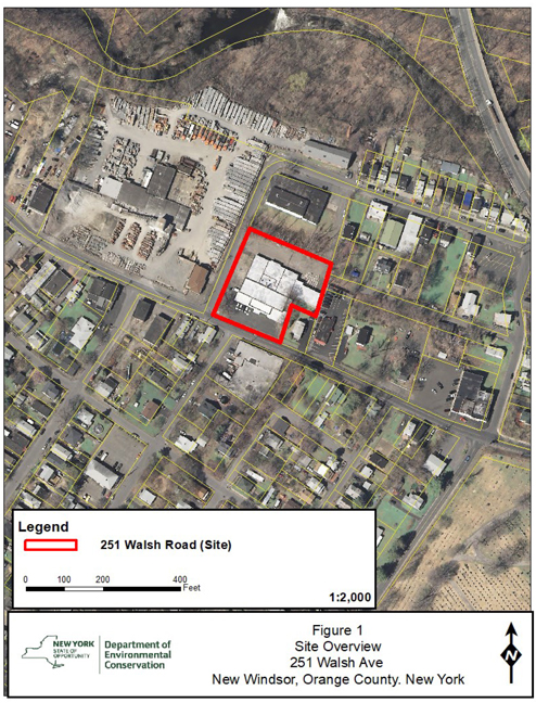 Site overview of 251 Walsh Road in New Windsor, NY.
