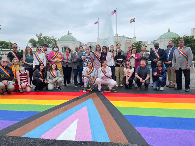 For the first time in Westchester County history, the LGBTQ Advisory Board and County officials raised two Progress Pride Flags at Playland Amusement Park, and unveiled a Progress Pride Flag mural painted by The LOFT in front of the Playland Fountain.
