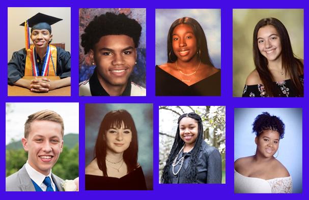 Pictured above from top left, clockwise, are 2021 scholarship recipients Mya Zylbergberg,Javel Cherry, Jasmine Verette, Alexa Hurley, Nia Hopkins, Dominique Gooden, Kate Drickel and Joshua Sandler.