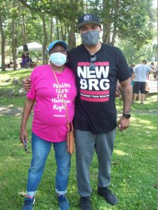 Deborah Danzy, Community Health Promoter Team Leader for Planned Parenthood of Greater New York and Joe Alvarez of We Are Newburgh at Saturday's Community Appreciation Day, held at the City of Newburgh's Downing Park.