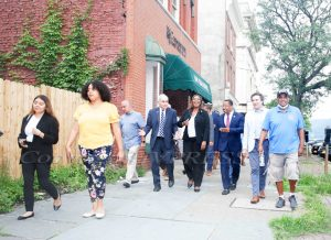 NY Attorney General Letitia James was joined by elected officials and community members in Newburgh on Thursday, July 22, 2021 to tour the city and speak on gun violence. HUDSON VALLEY PRESS/ Chuck Stewart, Jr.