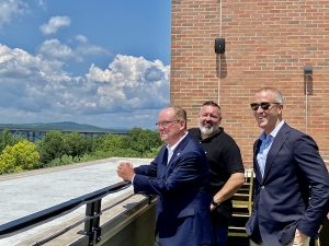Poughkeepsie Mayor Rob Rolison, Zeus Brewing Company Managing Partner Jeremy Phillips and Sean Patrick Maloney talk during the tour.