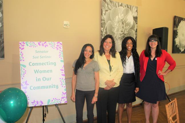 Senator Sue Serino pictured with (L-R) Sabrina Cruz, Owner of Ultimate Auto Detailing and 2021 NYS Women of Distinction Nominee, Satara Brown, Founder of Rebuilding Our Children and Community, Inc., and Kelly Formoso, Executive Director of the American Red Cross Hudson Valley Chapter.
