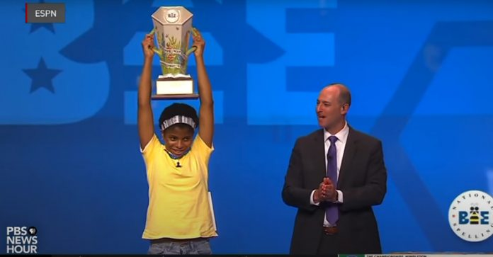 """Zaila Avant-garde made history as the first African American student to win the Scripps National Spelling Bee. The word she spelled correctly to win was """"Murraya,"""" which is a genus of tropical Asiatic and Australian trees. Her victory during the final round also means she is the first Black champion since Jody-Anne Maxwell in 1998. Photo: Screen Capture from PBS News Hour Video / YouTube)"""