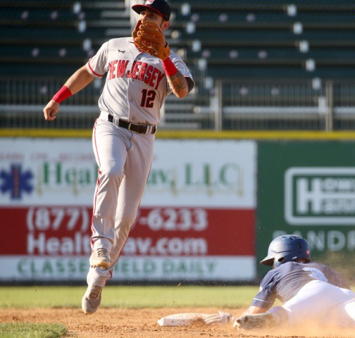 New York's Jack Sundberg slides safely into second base with a stolen base in first game of doubleheader with the New Jersey Jackals on Friday night at Palisades Credit Union Park. Photo: DREW WOHL