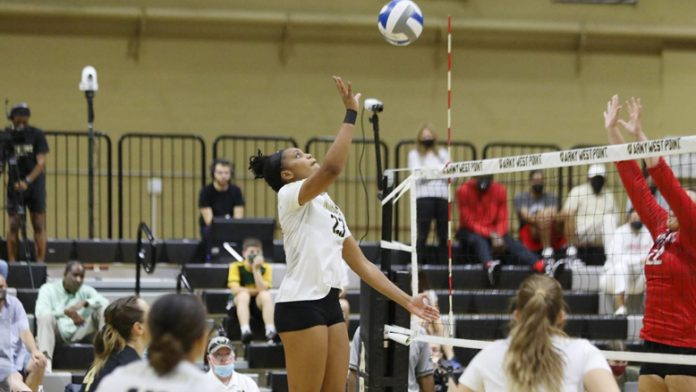 Army West Point volleyball walked away with the 3-2 victory over Sacred Heart on Friday night in Gillis Field House.. Pictured above Army Savannah Bray.