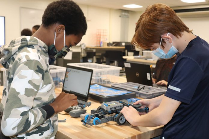 Central School District (HCSD) students entering Grades 6 through 12 were able to participate in a week-long Robotics and Coding Experience (RaCE) camp at Highland High School this summer. Pictured above, Jayden Benjamin, entering Grade 6, and Cameron Albers, entering Grade 8, fine tune their motorized robot.