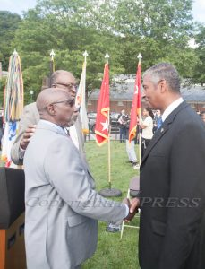 After the U.S. Military Academy at West Point dedicated the Buffalo Soldier Monument on Friday, September 10, 2021, the artist Eddie Dixon greets the keynote speaker Gen. Vincent K. Brooks. Hudson Valley Press/CHUCK STEWART, JR.