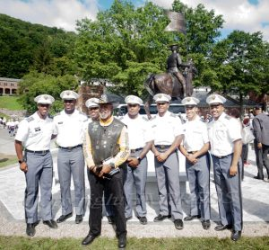 """""""Big Dee"""" joins with cadets for a photo following the U.S. Military Academy at West Point dedication of the Buffalo Soldier Monument on Friday, September 10, 2021. Hudson Valley Press/CHUCK STEWART, JR."""