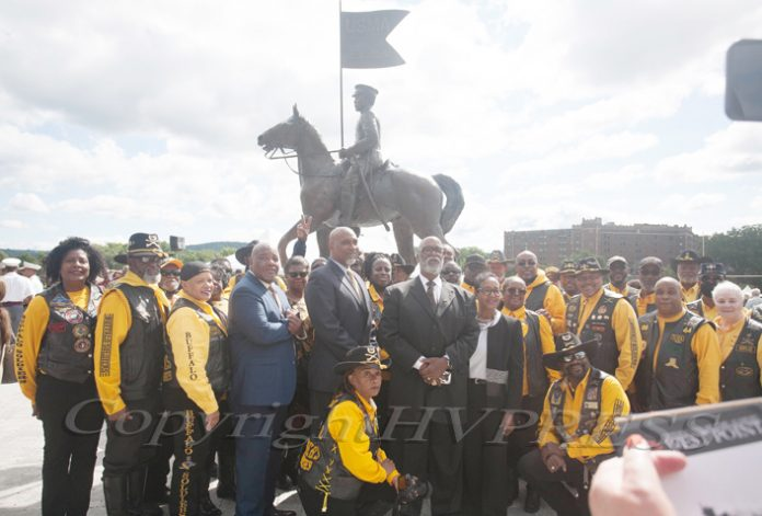 A group photo was taken to commemorate the U.S. Military Academy at West Point dedication of the Buffalo Soldier Monument on Friday, September 10, 2021. Hudson Valley Press/CHUCK STEWART, JR.