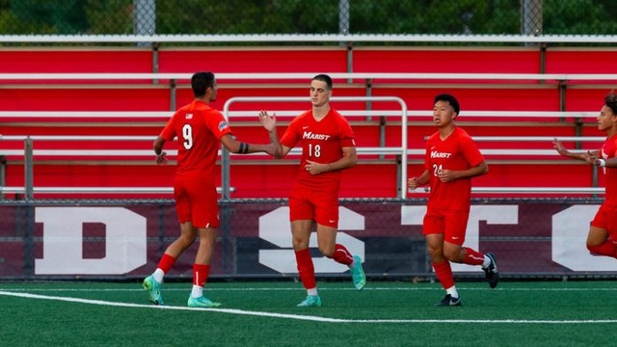 Fifteen years to the day of the last meeting between Marist and St. John's, graduate captain Huib Achterkamp buried a penalty kick in the seventh minute to power the Red Foxes to a 1-0 win over the Red Storm on Saturday evening from Belson Stadium.