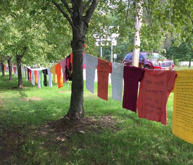 Orange County and Fearless! Hudson Valley, Inc. will recognize Domestic Violence Awareness Month (DVAM) by hosting the Clothesline Project outside of the County's Government Center on October 1st. Pictured above, clothesline Project at the Government Center in 2019.